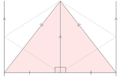 ひし形を等積変形して三角形へ